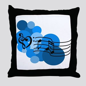 Blue Music Clefs Heart Throw Pillow