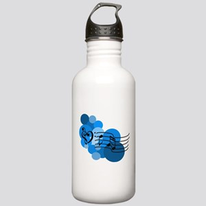 Blue Music Clefs Heart Stainless Water Bottle 1.0L