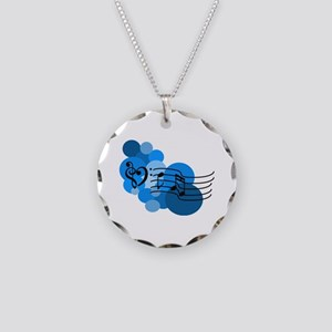 Blue Music Clefs Heart Necklace Circle Charm