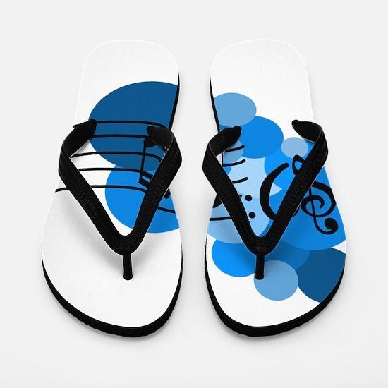 Blue Music Clefs Heart Flip Flops