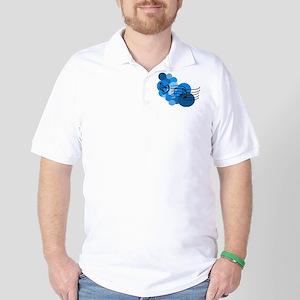 Blue Music Clefs Heart Golf Shirt