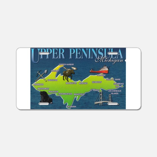 Cute Upper peninsula Aluminum License Plate