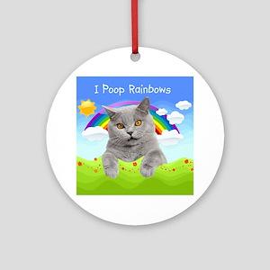 I Poop Rainbows Cat Ornament (Round)