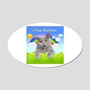 I Poop Rainbows Cat 22x14 Oval Wall Peel