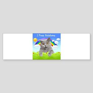 I Poop Rainbows Cat Sticker (Bumper)