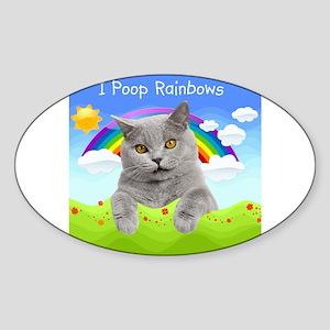 I Poop Rainbows Cat Sticker (Oval)