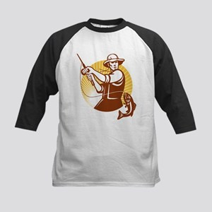 Fisherman Catching Largemouth Kids Baseball Jersey