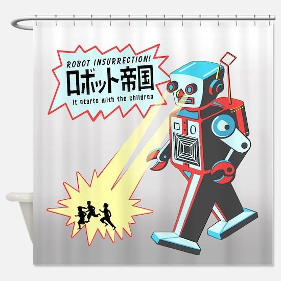Robot Insurrection Shower Curtain