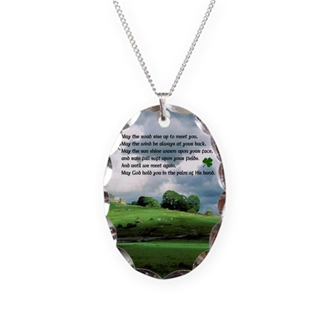 May the Road Rise up to meet yoNecklace Oval Charm