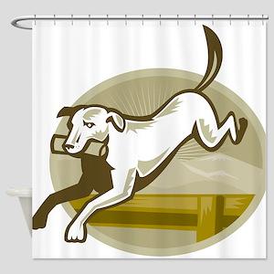 Retriever Dog Jumping Shower Curtain