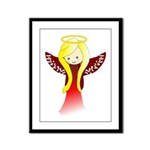 Cute Angel in Red Framed Panel Print