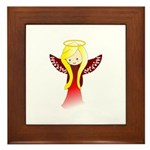 Cute Angel in Red Framed Tile