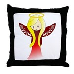 Cute Angel in Red Throw Pillow