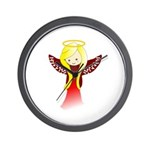 Cute Angel in Red Wall Clock