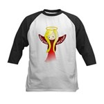 Cute Angel in Red Kids Baseball Jersey