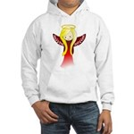 Cute Angel in Red Hooded Sweatshirt