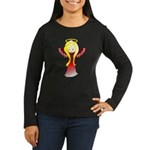 Cute Angel in Red Women's Long Sleeve Dark T-Shirt