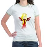 Cute Angel in Red Jr. Ringer T-Shirt