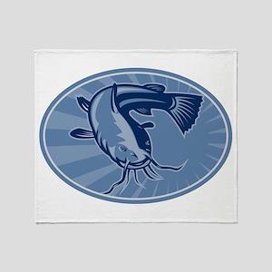 Bullhead Catfish Retro Throw Blanket