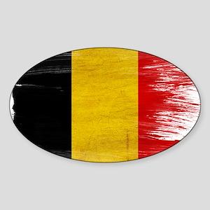 Belgium Flag Sticker (Oval)