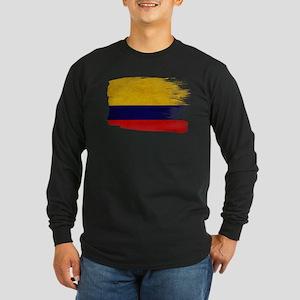 Colombia Flag Long Sleeve Dark T-Shirt