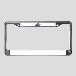 Navy Blue Dove of Flowers License Plate Frame