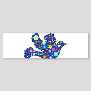 Navy Blue Dove of Flowers Sticker (Bumper)