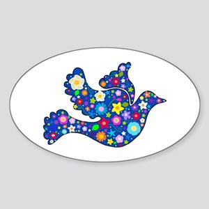 Navy Blue Dove of Flowers Sticker (Oval)