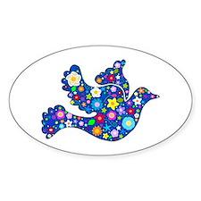 Navy Blue Dove of Flowers Sticker (Oval)