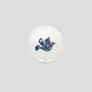 Navy Blue Dove of Flowers Mini Button