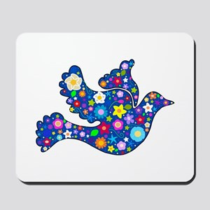 Navy Blue Dove of Flowers Mousepad