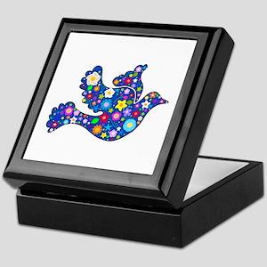 Navy Blue Dove of Flowers Keepsake Box