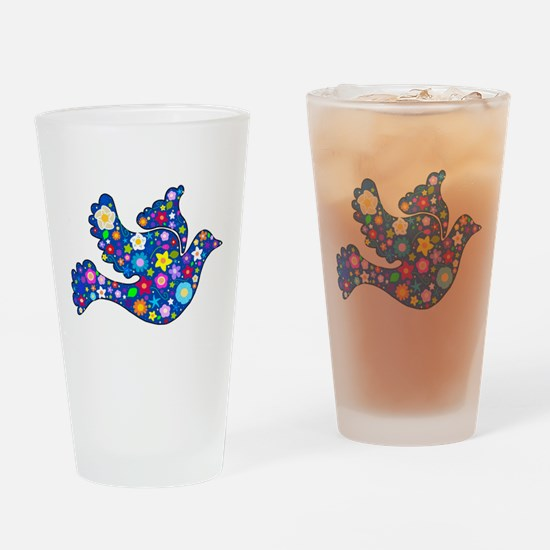 Navy Blue Dove of Flowers Drinking Glass