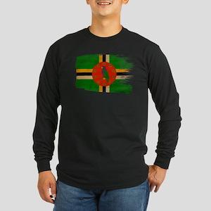 Dominica Flag Long Sleeve Dark T-Shirt