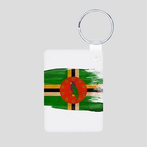 Dominica Flag Aluminum Photo Keychain