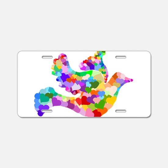 Rainbow Dove of Hearts Aluminum License Plate
