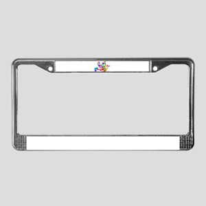 Rainbow Dove of Hearts License Plate Frame