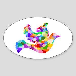 Rainbow Dove of Hearts Sticker (Oval)