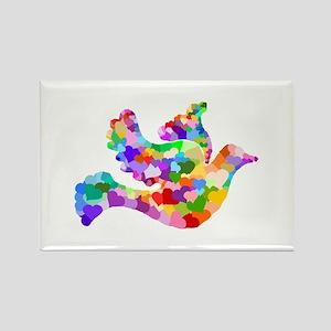 Rainbow Dove of Hearts Rectangle Magnet