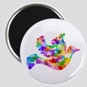 Rainbow Dove of Hearts Magnet