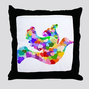 Rainbow Dove of Hearts Throw Pillow