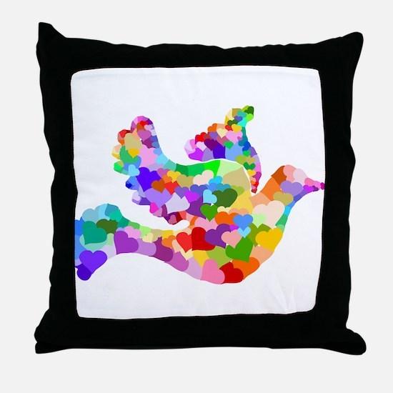 Rainbow Dove of Hearts Throw Pillow