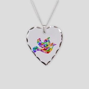 Rainbow Dove of Hearts Necklace Heart Charm