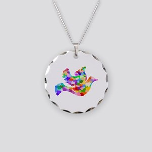 Rainbow Dove of Hearts Necklace Circle Charm
