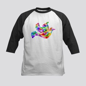 Rainbow Dove of Hearts Kids Baseball Jersey
