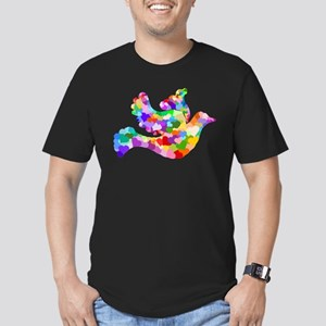 Rainbow Dove of Hearts Men's Fitted T-Shirt (dark)