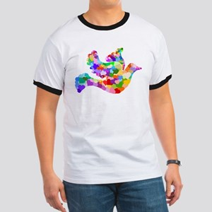 Rainbow Dove of Hearts Ringer T