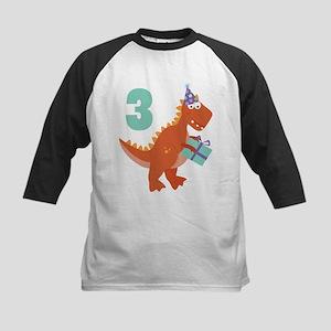 3rd Birthday Dinosaur Kids Baseball Jersey