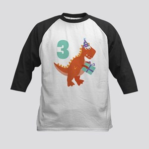 3rd Birthday Dinosaur Kids Baseball Jersey