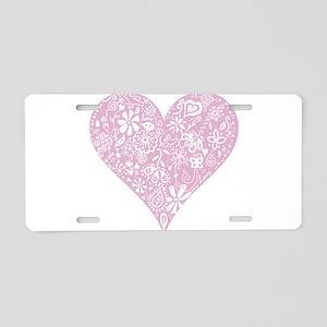 Pink Decorative Heart Aluminum License Plate